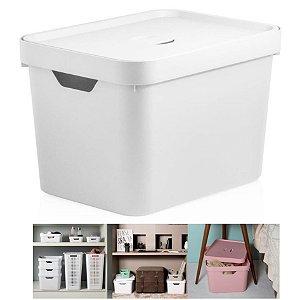 Caixa Organizadora Cube 18l Cesto Com Tampa Closet Roupa Grande - CC450 Ou - Branco