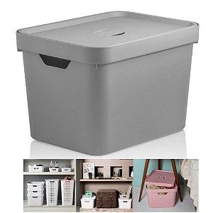 Caixa Organizadora Cube 18l Cesto Com Tampa Closet Roupa Grande - CC450 Ou - Chumbo