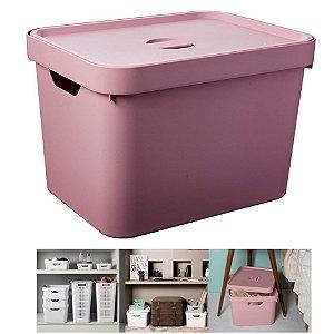 Caixa Organizadora Cube 18l Cesto Com Tampa Closet Roupa Grande - CC450 Ou - Rosa