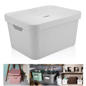 Caixa Organizadora Cube 32l Cesto Grande Tampa Closet Roupas - CC650 Ou - Branco