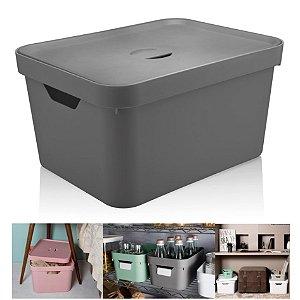 Caixa Organizadora Cube 32l Cesto Grande Tampa Closet Roupas - CC650 Ou - Chumbo