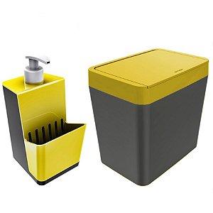 Kit Dispenser Porta Detergente + Lixeira 5 Litros Para Pia Cozinha - Chumbo Crippa - Amarelo