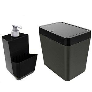 Kit Dispenser Porta Detergente + Lixeira 5 Litros Para Pia Cozinha - Chumbo Crippa - Preto