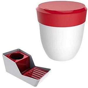 Kit Organizador De Pia Porta Detergente + Lixeira 2,5 Litros Cozinha - Branco Crippa - Vermelho