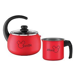 Kit Jogo Panela Alumínio Mickey Fervedor Leiteira Chaleira Antiaderente Chá Água Cozinha - Brinox - Vermelho