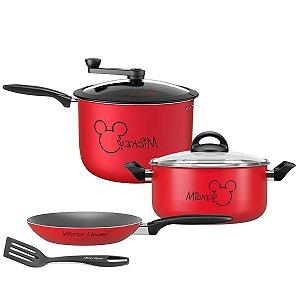 Kit Jogo Panela Alumínio Mickey Caçarola Frigideira Pipoqueira Antiaderente Cozinha - Brinox - Vermelho