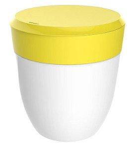Lixeira 2,5 Litros Redonda Cesto Lixo Bancada Cozinha Escritório Banheiro Branca - Crippa - Amarelo