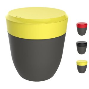 Lixeira 2,5 Litros Redonda Cesto Lixo Bancada Cozinha Escritório Banheiro Chumbo - Crippa - Amarelo