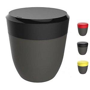 Lixeira 2,5 Litros Redonda Cesto Lixo Bancada Cozinha Escritório Banheiro Chumbo - Crippa - Preto