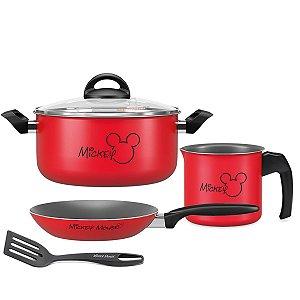 Kit Jogo Panela Alumínio Mickey Caçarola Frigideira Fervedor Antiaderente Cozinha - Brinox - Vermelho