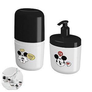 Kit Dispenser Sabonete Líquido Suporte Porta Escova Dente Mickey Acessório Pia Banheiro  - Coza