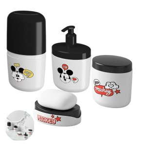 Kit Dispenser Sabonete Líquido Saboneteira Porta Escova Algodão Mickey Pia Acessório Banheiro - Coza