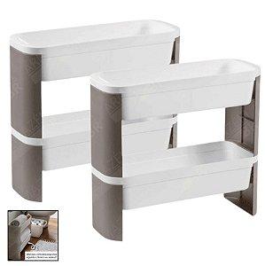 Kit 2 Organizador de Cozinha Banheiro Lavanderia Jardim 2 andares Loft Slim - Coza - Cinza