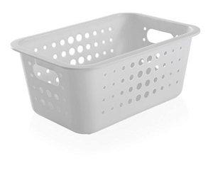 Cesto Organizador Plástico 5l Caixa Lavandeira Armário Roupas Closet - CO 430 Ou - Branco