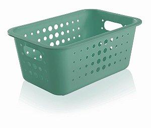 Cesto Organizador Plástico 5l Caixa Lavandeira Armário Roupas Closet - CO 430 Ou - Verde Menta