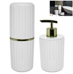 Conjunto 2 Pçs Banheiro Groove Porta Sabonete Escova Creme Dental Dourado - CBG 805 Ou - Branco