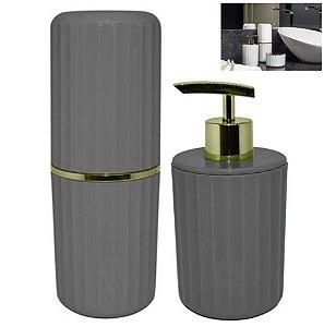 Conjunto 2 Pçs Banheiro Groove Porta Sabonete Escova Creme Dental Dourado - CBG 805 Ou - Chumbo