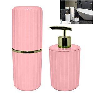 Conjunto 2 Pçs Banheiro Groove Porta Sabonete Escova Creme Dental Dourado - CBG 805 Ou - Rosa