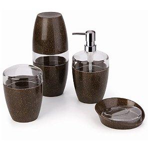 Conjunto Banheiro 4 pçs Eco Porta Sabonete Escovas Algodão - CBV 505 Ou - Cana