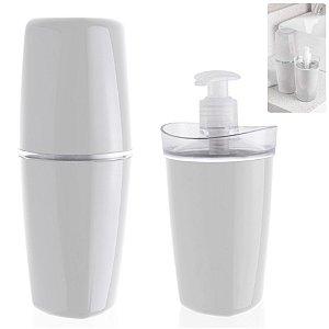 Conjunto Banheiro Tule Porta Escovas Pasta Dispenser Sabonete Pia - CBT805 Ou - Branco