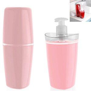 Conjunto Banheiro Tule Porta Escovas Pasta Dispenser Sabonete Pia - CBT805 Ou - Rosa