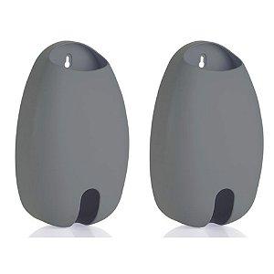 Kit 2 Dispenser Organizador Sacola Parede Puxa Saco Plástico - Ou - Chumbo