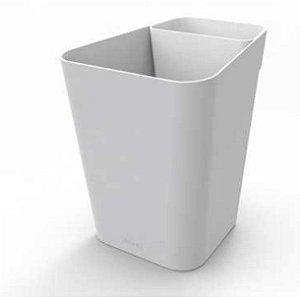 Lixeira Plástica 10 Litros Cesto De Lixo Chão Escritório Office Retangular - Pratk - Cinza