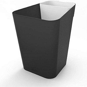 Lixeira Plástica 10 Litros Cesto De Lixo Chão Escritório Office Retangular - Pratk - Preto