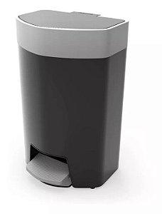 Lixeira Plástica 12 Litros Com Pedal Cozinha Banheiro Escritório - Pratk - Preto