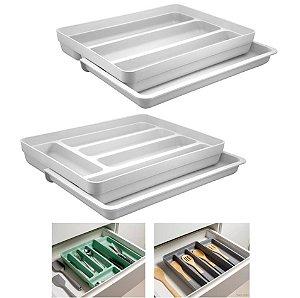 Kit 2 Organizador Gavetas Talheres Extensível Porta Talher Utensílios Cozinha Logic - Ou - Branco