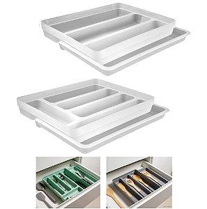 Kit 2 Organizador Gavetas Talheres Extensível Porta Talher Utensílios Cozinha Logic - Ou - Natural