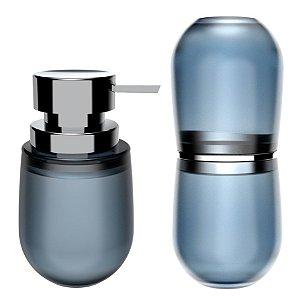 Kit 2 Peças Banheiro Dispenser Sabonete Líquido Porta Escovas Belly Soft - KTE 043 Ou - Azul Glacial