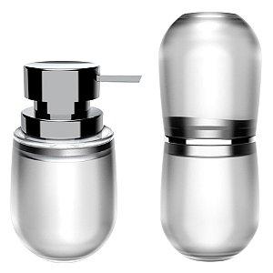 Kit 2 Peças Banheiro Dispenser Sabonete Líquido Porta Escovas Belly Soft - KTE 043 Ou - Natural