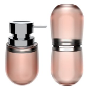 Kit 2 Peças Banheiro Dispenser Sabonete Líquido Porta Escovas Belly Soft - KTE 043 Ou - Rose Nude