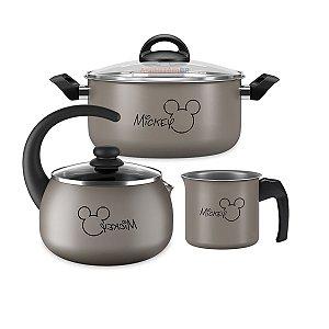 Kit Jogo Panela Alumínio Mickey Caçarola Chaleira Fervedor Antiaderente Cozinha Disney - Brinox - Prata
