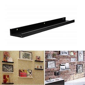 Prateleira Decorare Parede 60x9cm Porta Quadros Retratos Brinquedos Livros Madeira Mdf - Pratk - Preto