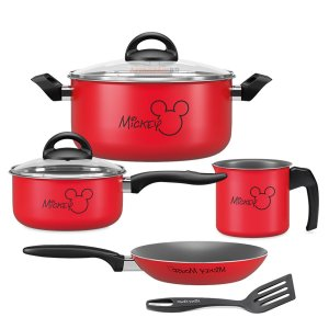 Kit Jogo Panela Caçarola Fervedor Frigideira Alumínio Mickey Antiaderente Cozinha - Brinox - Vermelho