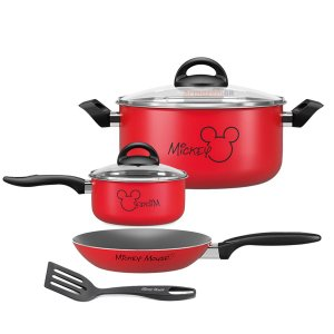 Kit Jogo Panela Caçarola Frigideira Fervedor Alumínio Mickey  Antiaderente Cozinha Disney - Brinox - Vermelho