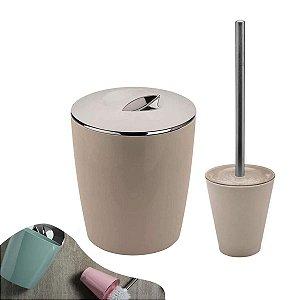 Conjunto Lixeira 5 Litros Vitra + Porta Escova Sanitária Banheiro Bege - KTE 009 Ou