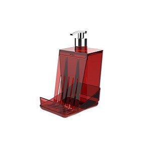 Dispensador para Detergente líquido Dispenser Esponja Smart S - Crippa - Vermelho
