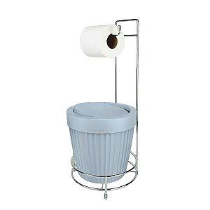 Kit Porta Papel Higiênico E Suporte Com Lixeira Basculante 5L Cesto Lixo Chão Banheiro - Ou - Azul Glacial