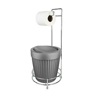 Kit Porta Papel Higiênico E Suporte Com Lixeira Basculante 5L Cesto Lixo Chão Banheiro - Ou - Chumbo