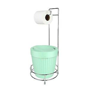 Kit Porta Papel Higiênico E Suporte Com Lixeira Basculante 5L Cesto Lixo Chão Banheiro - Ou - Verde Menta