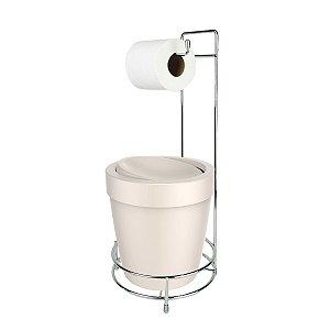 Kit Suporte Porta Papel Higiênico Com Lixeira Basculante 5L Cesto Lixo Chão Banheiro Vitra - Ou - Bege