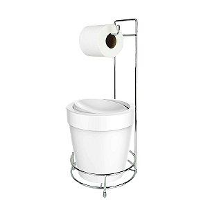 Kit Suporte Porta Papel Higiênico Com Lixeira Basculante 5L Cesto Lixo Chão Banheiro Vitra - Ou - Branco