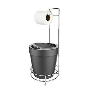Kit Suporte Porta Papel Higiênico Com Lixeira Basculante 5L Cesto Lixo Chão Banheiro Vitra - Ou - Chumbo