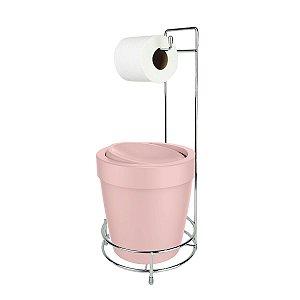 Kit Suporte Porta Papel Higiênico Com Lixeira Basculante 5L Cesto Lixo Chão Banheiro Vitra - Ou - Rosa
