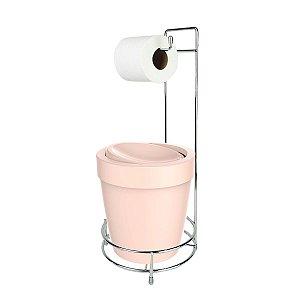 Kit Suporte Porta Papel Higiênico Com Lixeira Basculante 5L Cesto Lixo Chão Banheiro Vitra - Ou - Rosa Nude