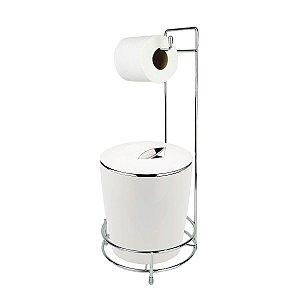 Kit Suporte Porta Papel Higiênico E Lixeira Com Tampa Cromada 5L Chão Banheiro Vitra - Ou - Branco