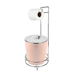 Kit Suporte Porta Papel Higiênico E Lixeira Com Tampa Cromada 5L Chão Banheiro Vitra - Ou - Rosa Nude
